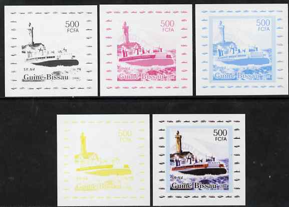 Guinea - Bissau 2006 Ships & Lighthouses #8 - SR-N41 Hovecraft individual deluxe sheet - the set of 5 imperf progressive proofs comprising the 4 individual colours plus a...
