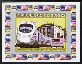 Guinea - Conakry 2006 High Speed Trains #1 - German Ice Train individual imperf deluxe sheet unmounted mint. Note this item is privately produced and is offered purely on its thematic appeal