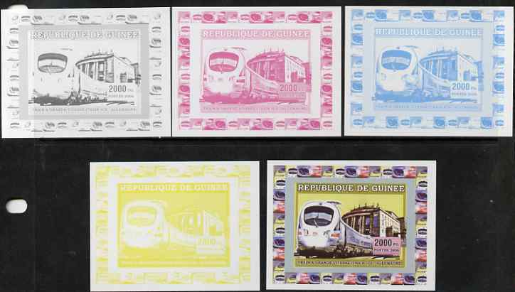 Guinea - Conakry 2006 High Speed Trains #1 - German Ice Train individual deluxe sheet - the set of 5 imperf progressive proofs comprising the 4 individual colours plus all 4-colour composite, unmounted mint