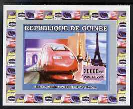 Guinea - Conakry 2006 High Speed Trains #2 - TGV individual imperf deluxe sheet unmounted mint. Note this item is privately produced and is offered purely on its thematic appeal, stamps on railways