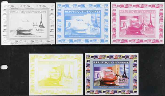 Guinea - Conakry 2006 High Speed Trains #2 - TGV individual deluxe sheet - the set of 5 imperf progressive proofs comprising the 4 individual colours plus all 4-colour composite, unmounted mint