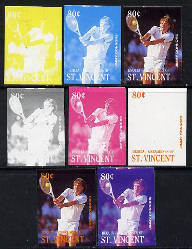 St Vincent - Bequia 1988 International Tennis Players 80c (Jimmy Connors) set of 8 imperf progressive proofs comprising the 5 individual colours plus 2, 4 and all 5 colour composites unmounted mint*