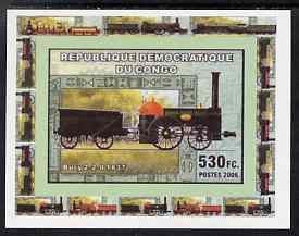 Congo 2006 Transport - British Steam Locos #1 - Bury 2-2-0 individual imperf deluxe sheet unmounted mint. Note this item is privately produced and is offered purely on its thematic appeal