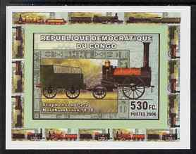 Congo 2006 Transport - British Steam Locos #2 - Stephenson 0-2-2 individual imperf deluxe sheet unmounted mint. Note this item is privately produced and is offered purely on its thematic appeal