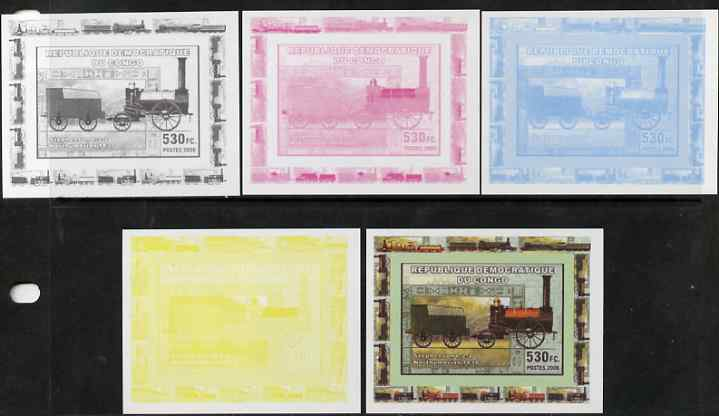 Congo 2006 Transport - British Steam Locos #2 - Stephenson 0-2-2 individual deluxe sheet - the set of 5 imperf progressive proofs comprising the 4 individual colours plus all 4-colour composite, unmounted mint