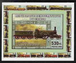 Congo 2006 Transport - British Steam Locos #3 - Stirling 8ft Single 4-2-2 individual imperf deluxe sheet unmounted mint. Note this item is privately produced and is offered purely on its thematic appeal