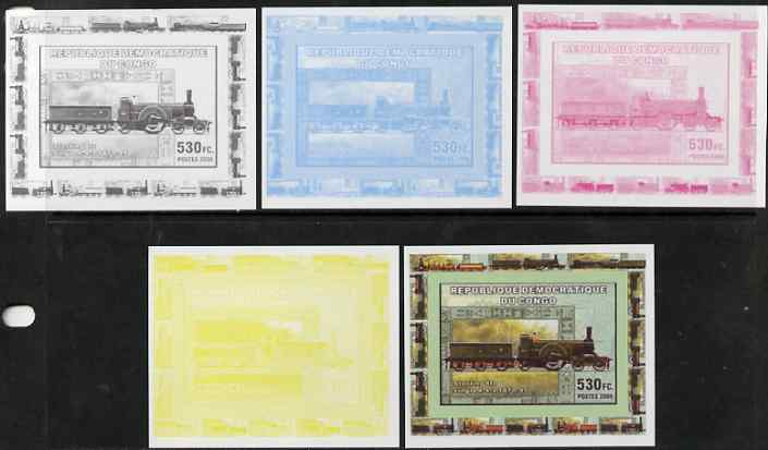 Congo 2006 Transport - British Steam Locos #3 - Stirling 8ft Single 4-2-2 individual deluxe sheet - the set of 5 imperf progressive proofs comprising the 4 individual colours plus all 4-colour composite, unmounted mint