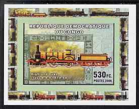 Congo 2006 Transport - British Steam Locos #4 - Highland Duke 4-4-0 individual imperf deluxe sheet unmounted mint. Note this item is privately produced and is offered purely on its thematic appeal