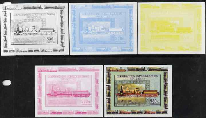 Congo 2006 Transport - British Steam Locos #4 - Highland Duke 4-4-0 individual deluxe sheet - the set of 5 imperf progressive proofs comprising the 4 individual colours plus all 4-colour composite, unmounted mint
