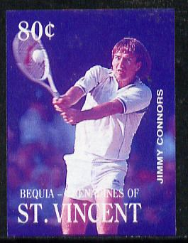 St Vincent - Bequia 1988 International Tennis Players 80c (Jimmy Connors) imperf progressive proof in blue & magenta only unmounted mint*