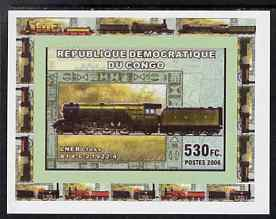 Congo 2006 Transport - British Steam Locos #5 - LNER 4-6-2 Flying Scotsman individual imperf deluxe sheet unmounted mint. Note this item is privately produced and is offered purely on its thematic appeal