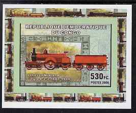 Congo 2006 Transport - British Steam Locos #6 - Johnson Single 4-2-2 individual imperf deluxe sheet unmounted mint. Note this item is privately produced and is offered purely on its thematic appeal
