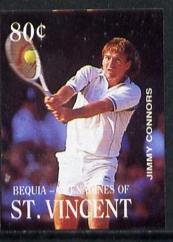 St Vincent - Bequia 1988 International Tennis Players 80c (Jimmy Connors) imperf progressive proof in 4 colours only (orange omitted leaving Country, name and value in white) unmounted mint*
