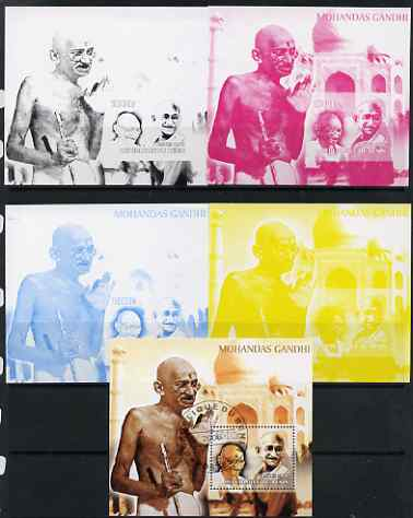 Benin 2006 Mahatma Gandhi #2 s/sheet - the set of 5 imperf progressive proofs comprising the 4 individual colours unmounted mint plus all 4-colour perf composite cto used...
