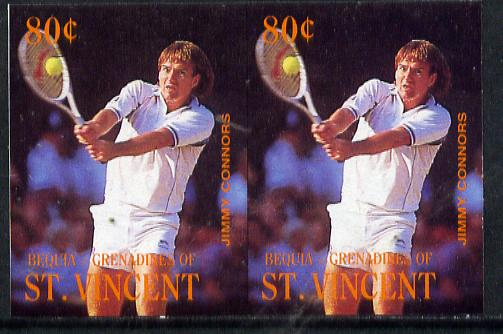 St Vincent - Bequia 1988 International Tennis Players 80c (Jimmy Connors) imperf horiz pair unmounted mint*