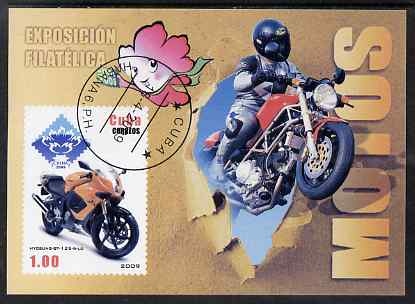 Cuba 2009 Motorcycles imperf m/sheet fine cto used