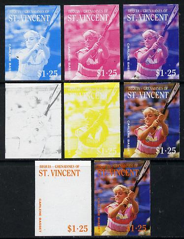 St Vincent - Bequia 1988 International Tennis Players $1.25 (Carlene Basset) set of 8 imperf progressive proofs comprising the 5 individual colours plus 2, 4 and all 5 colour composites unmounted mint*