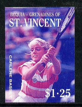 St Vincent - Bequia 1988 Tennis $1.25 (Carlene Basset) imperf progressive proof in blue & magenta only unmounted mint*