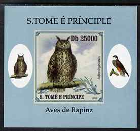 St Thomas & Prince Islands 2009 Raptors - Great Horned Owl individual imperf deluxe sheet unmounted mint. Note this item is privately produced and is offered purely on its thematic appeal