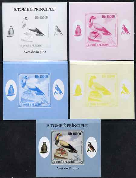 St Thomas & Prince Islands 2009 Raptors - King Vulture individual deluxe sheet - the set of 5 imperf progressive proofs comprising the 4 individual colours plus all 4-colour composite, unmounted mint
