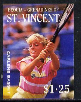 St Vincent - Bequia 1988 Tennis $1.25 (Carlene Basset) imperf progressive proof in 4 colours only (orange omitted leaving Country, name and value in white) unmounted mint*