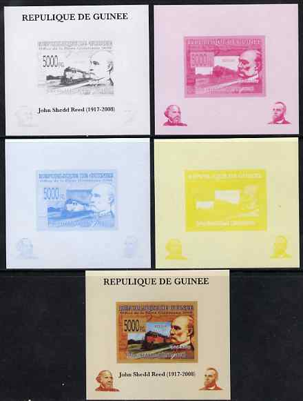 Guinea - Conakry 2008 Atchison, Topeka & Santa Fe Railway - John Shedd Reed & KCS 0119 individual deluxe sheet - the set of 5 imperf progressive proofs comprising the 4 individual colours plus all 4-colour composite, unmounted mint