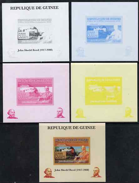 Guinea - Conakry 2008 Atchison, Topeka & Santa Fe Railway - John Shedd Reed & Southern Pacific Loco individual deluxe sheet - the set of 5 imperf progressive proofs comprising the 4 individual colours plus all 4-colour composite, unmounted mint