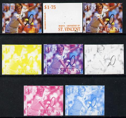 St Vincent - Bequia 1988 International Tennis Players $1.75 (Stefan Edberg) set of 8 imperf progressive proofs comprising the 5 individual colours plus 2, 4 and all 5 colour composites unmounted mint*