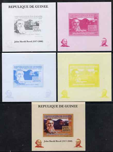 Guinea - Conakry 2008 Atchison, Topeka & Santa Fe Railway - John Shedd Reed & Southern Pacific 8361 individual deluxe sheet - the set of 5 imperf progressive proofs comprising the 4 individual colours plus all 4-colour composite, unmounted mint