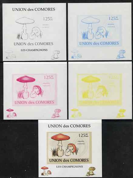 Comoro Islands 2009 Fungi #1 - 125 FC individual deluxe sheet - the set of 5 imperf progressive proofs comprising the 4 individual colours plus all 4-colour composite, unmounted mint