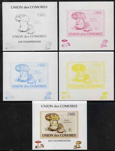 Comoro Islands 2009 Fungi #2 - 150 FC individual deluxe sheet - the set of 5 imperf progressive proofs comprising the 4 individual colours plus all 4-colour composite, unmounted mint