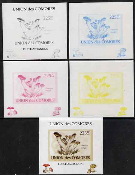 Comoro Islands 2009 Fungi #3 - 225 FC individual deluxe sheet - the set of 5 imperf progressive proofs comprising the 4 individual colours plus all 4-colour composite, unmounted mint