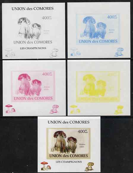 Comoro Islands 2009 Fungi #5 - 400 FC individual deluxe sheet - the set of 5 imperf progressive proofs comprising the 4 individual colours plus all 4-colour composite, unmounted mint