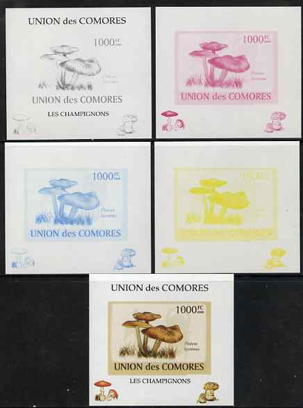 Comoro Islands 2009 Fungi #6 - 1000 FC individual deluxe sheet - the set of 5 imperf progressive proofs comprising the 4 individual colours plus all 4-colour composite, unmounted mint