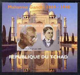 Chad 2009 Mahatma Gandhi #1 individual imperf deluxe sheet unmounted mint. Note this item is privately produced and is offered purely on its thematic appeal