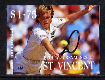 St Vincent - Bequia 1988 International Tennis Players $1.75 (Stefan Edberg) imperf progressive proof in 4 colours only (orange omitted leaving Country, name and value in white) unmounted mint*