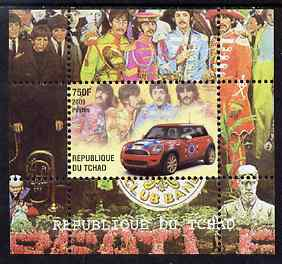 Chad 2009 50th Anniversary of the Mini featuring The Beatles #1 individual perf deluxe sheet unmounted mint. Note this item is privately produced and is offered purely on its thematic appeal