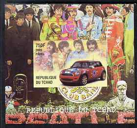 Chad 2009 50th Anniversary of the Mini featuring The Beatles #1 individual imperf deluxe sheet unmounted mint. Note this item is privately produced and is offered purely on its thematic appeal