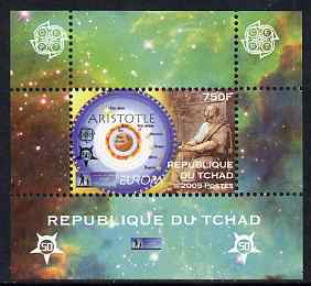 Chad 2009 Europa - Year of Astronomy #3 (Aristotle) individual perf deluxe sheet unmounted mint. Note this item is privately produced and is offered purely on its thematic appeal