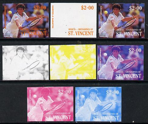 St Vincent - Bequia 1988 International Tennis Players $2 (Gabriela Sabatini) set of 8 imperf progressive proofs comprising the 5 individual colours plus 2, 4 and all 5 colour composites unmounted mint*