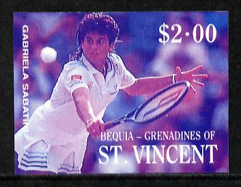 St Vincent - Bequia 1988 International Tennis Players $2 (Gabriela Sabatini) imperf progressive proof in blue & magenta only unmounted mint*