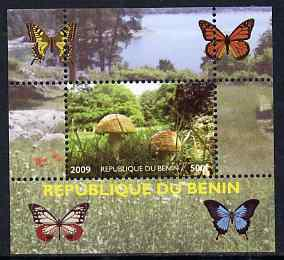 Benin 2009 Mushrooms and Butterflies #1 individual perf deluxe sheet unmounted mint. Note this item is privately produced and is offered purely on its thematic appeal