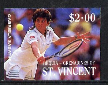 St Vincent - Bequia 1988 International Tennis Players $2 (Gabriela Sabatini) imperf progressive proof in 4 colours only (orange omitted leaving Country, name and value in white) unmounted mint*
