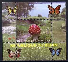 Benin 2009 Mushrooms and Butterflies #2 individual perf deluxe sheet unmounted mint. Note this item is privately produced and is offered purely on its thematic appeal