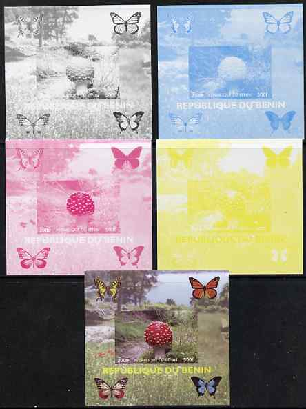 Benin 2009 Mushrooms and Butterflies #2 individual deluxe sheet - the set of 5 imperf progressive proofs comprising the 4 individual colours plus all 4-colour composite, unmounted mint