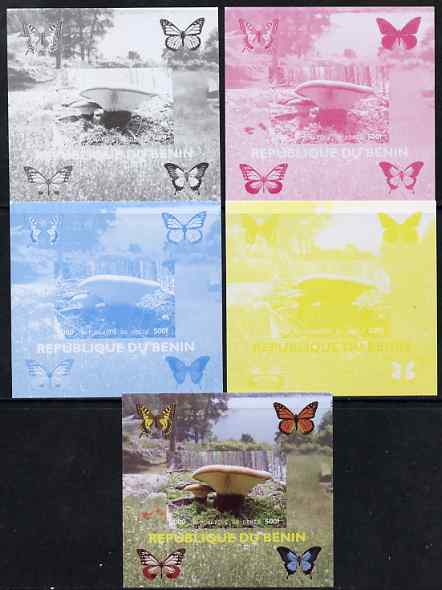 Benin 2009 Mushrooms and Butterflies #3 individual deluxe sheet - the set of 5 imperf progressive proofs comprising the 4 individual colours plus all 4-colour composite, unmounted mint