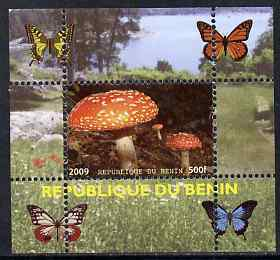 Benin 2009 Mushrooms and Butterflies #4 individual perf deluxe sheet unmounted mint. Note this item is privately produced and is offered purely on its thematic appeal