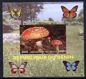 Benin 2009 Mushrooms and Butterflies #4 individual imperf deluxe sheet unmounted mint. Note this item is privately produced and is offered purely on its thematic appeal