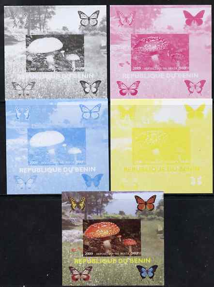 Benin 2009 Mushrooms and Butterflies #4 individual deluxe sheet - the set of 5 imperf progressive proofs comprising the 4 individual colours plus all 4-colour composite, unmounted mint