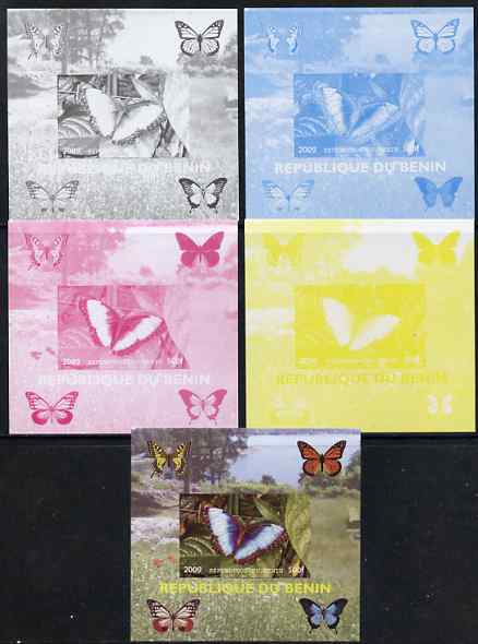 Benin 2009 Butterflies #2 individual deluxe sheet - the set of 5 imperf progressive proofs comprising the 4 individual colours plus all 4-colour composite, unmounted mint , stamps on butterflies, stamps on